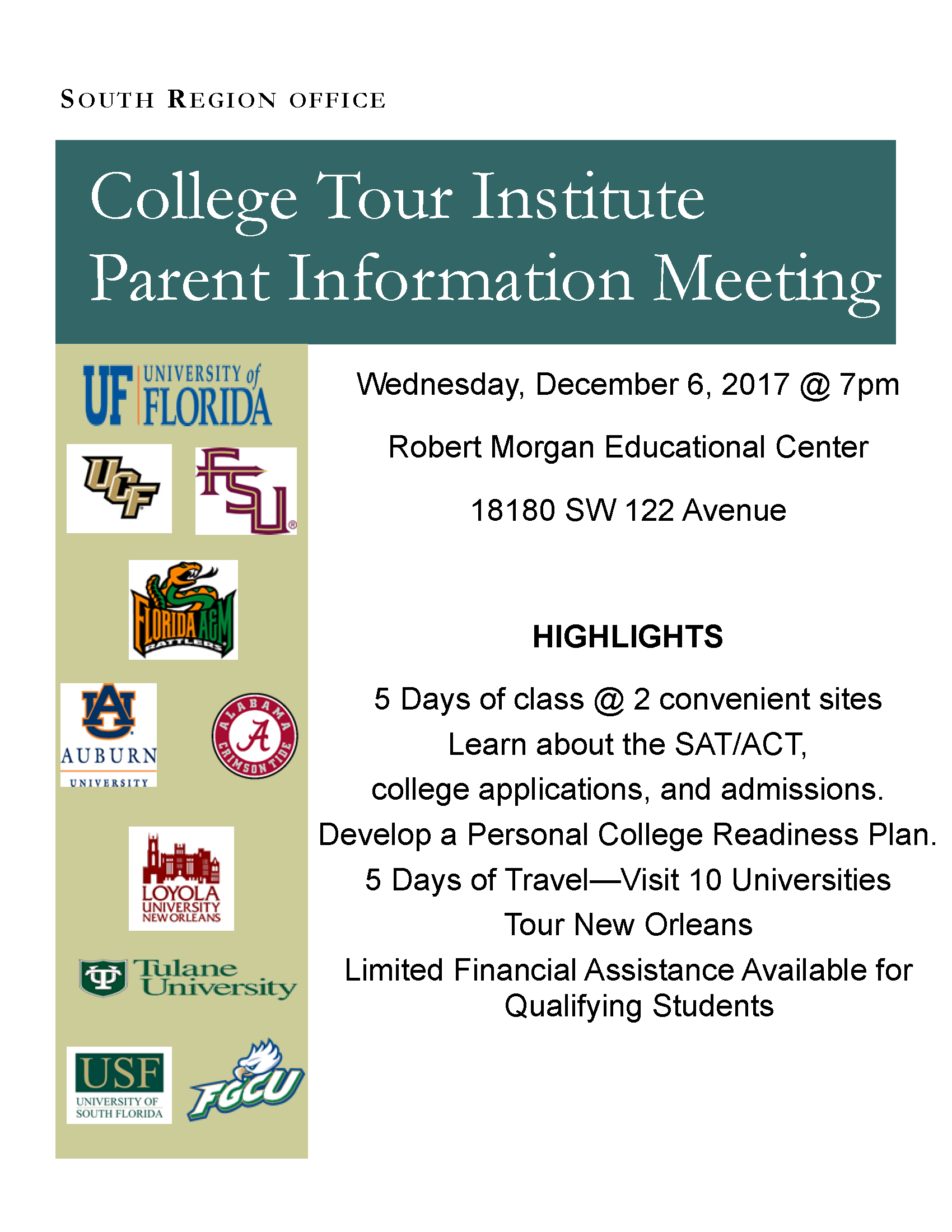 College Tour Institute Parent Information Meeting