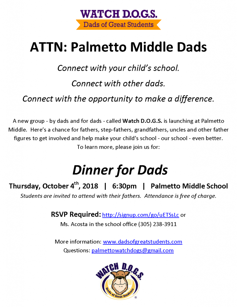 Watch D.O.G.S. Dinner for Dads @ Palmetto Middle School