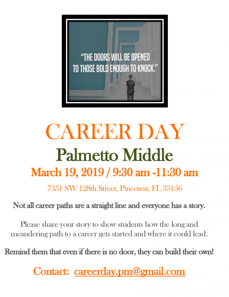 Career Day 2019 Flyer Palmetto MIddle