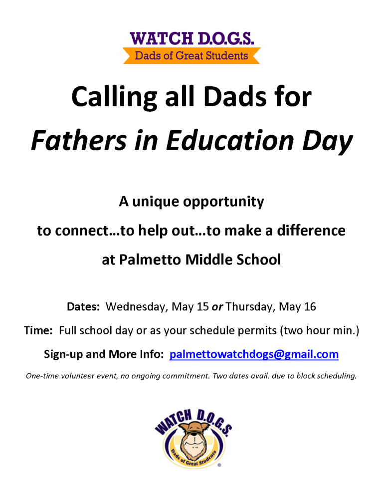 Palmetto Fathers In Ed Day - Calling All Dads